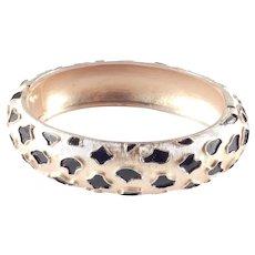 Trifari Enamel Hinged Oval Cuff Bracelet