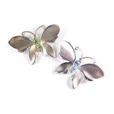 Napier Pair Rhinestone Butterfly Brooch Pin Set