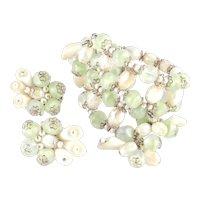 Hobé Bead Faux Pearl Pom Pom Wrap Bypass Bracelet Earrings Set