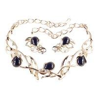 José Maria Barrera Avon Rhinestone Lucite Cabochon Granada Necklace Earrings Set