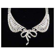 Marcel Boucher Rhinestone Collar Necklace Rhodium Plate Book Piece