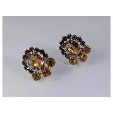 Juliana Rhinestone Art Glass Earrings