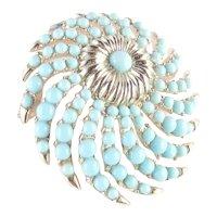 Trifari Whirlwind Faux Turquoise Bead Sunburst Brooch Pin