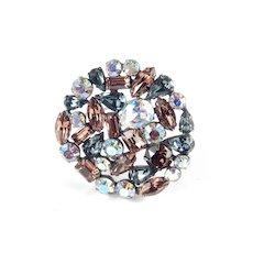 Weiss Large Multi Cut Rhinestone Brooch Pin