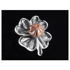 Lucite Carved Wood Four Leaf Clover Brooch Pin