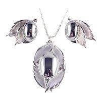 Faux Hematite Cabochon Pendant Necklace Earrings Set