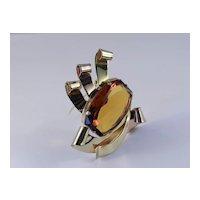 Coro Art Moderne Glass Stone Fur Clip
