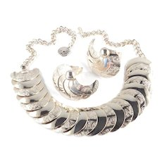 Embossed Crescent Disk Necklace Earrings Set
