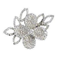 Weiss Layered Blossom Leaf Rhinestone Brooch Pin