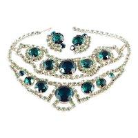 Rhinestone Art Glass Necklace Bracelet Earrings Parure Set