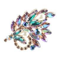 Rhinestone Faux Pearl Flower Spray Corsage Brooch Pin