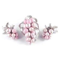 ParkLane Park Lane Grape Bead Cluster Dangle Brooch Pin Earrings Set