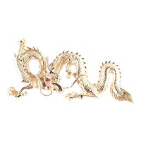 Vogue Jlry Golden Dragon Brooch Rhinestone