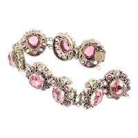 Original By Robert Hand Set Czechoslovakian Art Glass Stone Link Bracelet