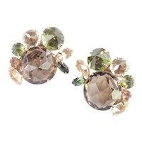Schreiner Art Glass Rhinestone Earrings