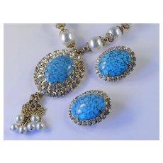 Rhinestone Faux Turquoise Faux Pearl Necklace Earrings Demi Parure Set