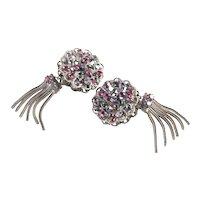 Hobé Victorian Revival Rhinestone Tassel Earrings