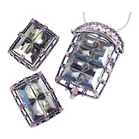 Sarah Coventry Midnight Magic Pin Brooch / Pendant Necklace Earrings Set