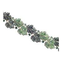 Lisner Thermoset Molded Oak Leaf Leaves Rhinestone Link Bracelet