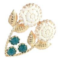 Freirich Molded Poured Art Glass Flower Brooch Pin