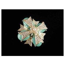 Joan Rivers Rhinestone Lucite Faux Pearl Maltese Cross Brooch Pin