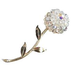 Large Crystal Aurora Borealis Glass Bead Flower Brooch Pin