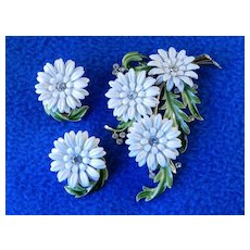 Trifari Cornflower Enamel Brooch Pin Earrings Demi Parure Set w/ Rhinestones