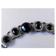Wide Chunky Jet Black Art Glass Rhinestone Faux Pearl Link Bracelet