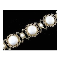 Wide White Milk Glass Florentine Link Bracelet