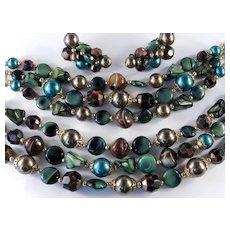 Trifari Triple Row Glass Bead Necklace Bracelet Earrings Parure Set