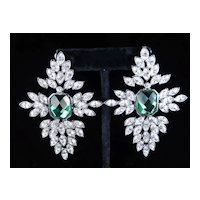 Vintage Arnold Scaasi Rhinestone Dangle Pendant Earrings