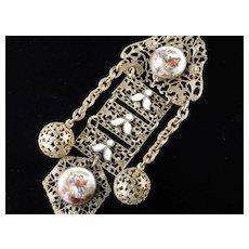 Vintage Filigree Brass Enamel Painted Porcelain Medallion Brooch Pin