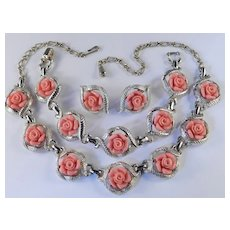 Sarah Coventry Faux Coral Fashion Rose Necklace Bracelet Earrings Parure Set  (Item reserved for mustaphaprincessibidunni)