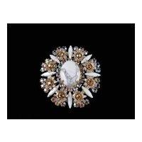 Juliana D & E Faux Italian Marble Rhinestone Brooch Pin Pendant