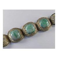 Art Deco Jade Silver Gilt Bracelet