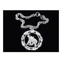 Vintage Oleet Rhinestone Elephant Charm Bracelet