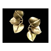Vintage Robert Lee Morris Modernist Triple Leaf Earrings