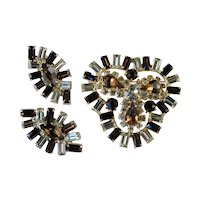 Vintage Baguette Rhinestone Brooch Pin Earrings Set