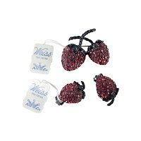 Weiss Rhinestone Enamel Strawberry Brooch Pin Earrings Set Pristine w/ Tags
