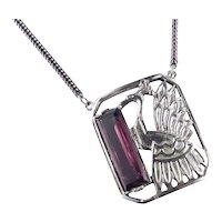 Anne Klein Accessocraft Peacock Art Glass Pendant Necklace