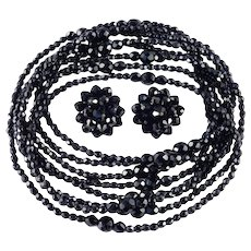"Laguna Pair 48"" Black Glass Bead Rope Necklace Earrings Demi Parure Set"