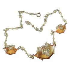 Art Deco Czech Glass Gilt Brass Necklace