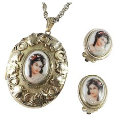 Whiting & Davis Limoges France Porcelain Locket Pendant Necklace Earrings Demi Parure Set