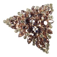 DeLizza & Elster Juliana Layered Triangle Rhinestone Brooch Pin 3 1/4""