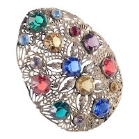Art Deco Colored Glass Rhinestone Filigree Dress Clip