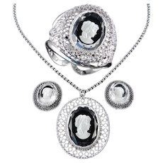Whiting Davis Intaglio Cameo Clamper Bracelet Pendant Necklace Earrings Parure Set