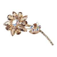 Juliana DeLizza & Elster Rhinestone Flower Brooch Pin