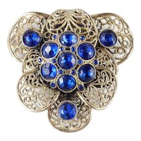'40s Vintage Large Blue Rhinestone Dress Clip