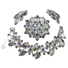 Juliana D & E Rhinestone Bracelet Brooch Pin Earrings Parure Set