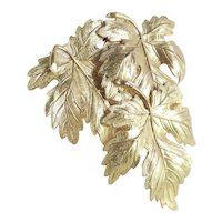 Triple Maple Leaf Gilt Brass Dress Clip